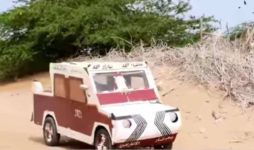 شاب من أبين ينجح في إختراع سيارة بمواد بسيطة